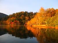 Autumn leaves that reflected in the lake Stock photo [3443421] Hokkaido