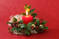 Christmas red candles and holly and catbrier Stock photo [3752846] Christmas