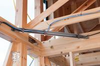 Wooden house reinforcement bracket under construction Stock photo [3861621] Housing