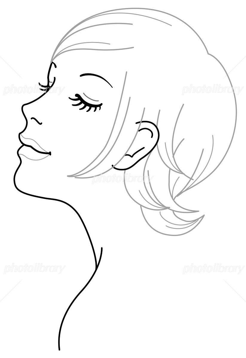 女性 顔 斜め イラスト イラスト素材 3970677 フォトライブラリー