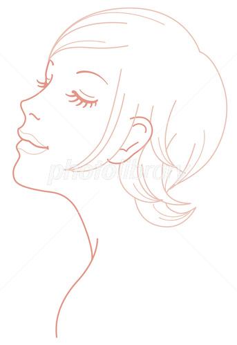 女性 顔 斜め イラスト イラスト素材 3970679 フォトライブラリー