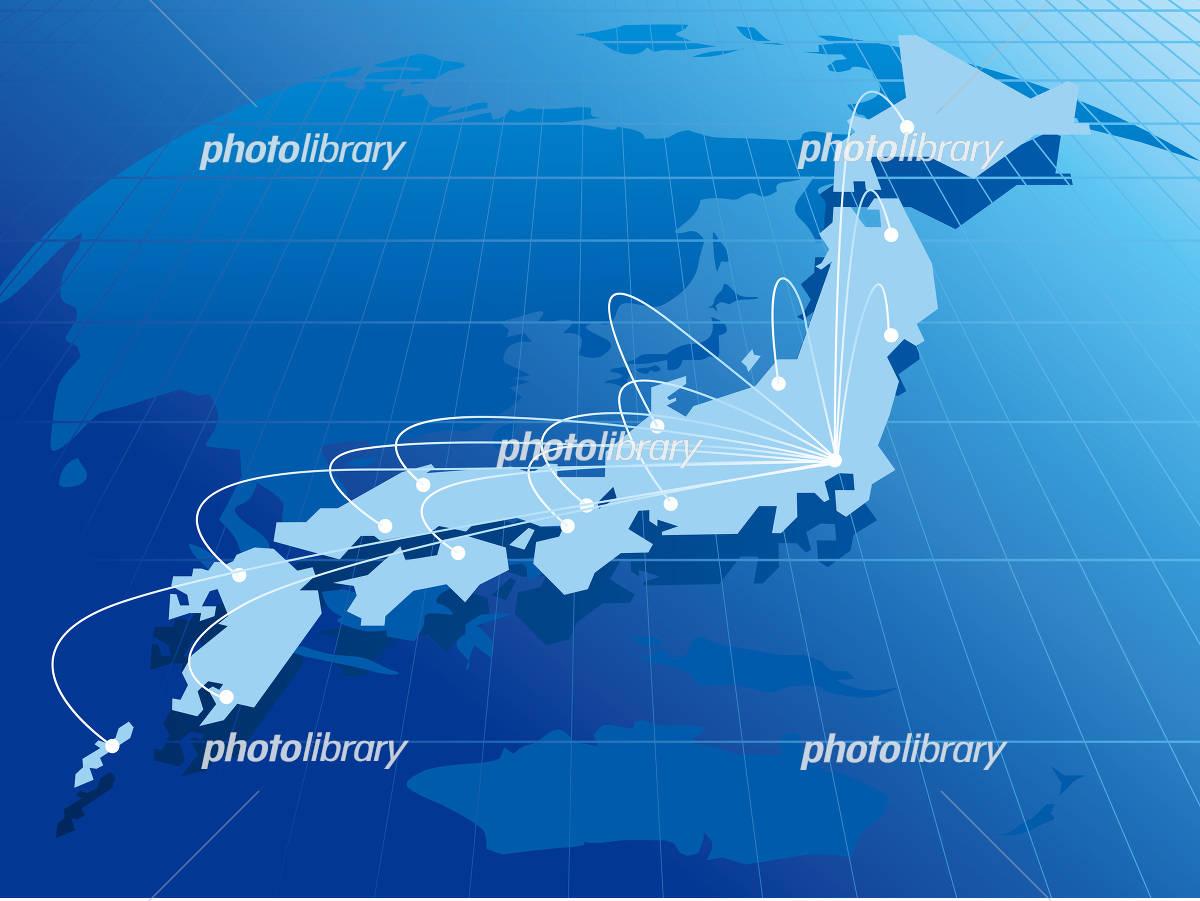 Japan map network イラスト素材
