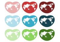World Map Heart colorful (Japan center) [4055200] world