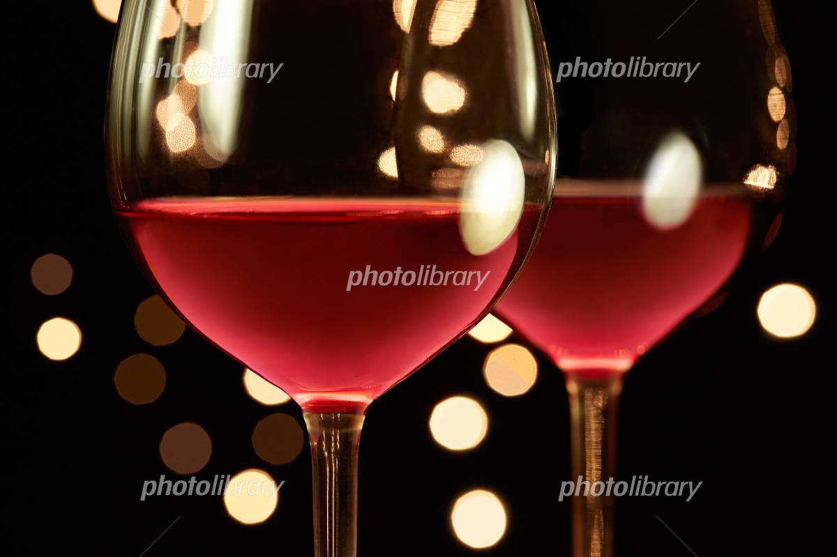 Red wine and Christmas illuminations restaurants Photo