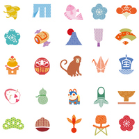 Good luck New Year's icon Japanese style [4122965] new
