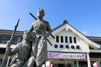 Aizu-Wakamatsu Station entrance and the image of the white tiger corps Stock photo [4173054] Aizu-Wakamatsu