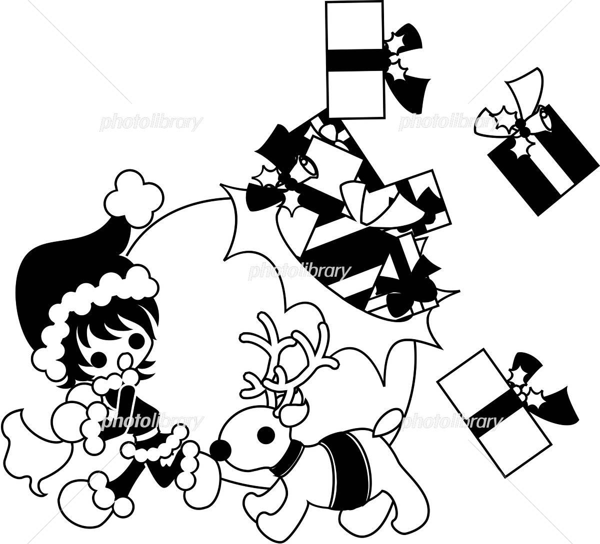 クリスマスのイラストモノクロ イラスト素材 4215533 フォト