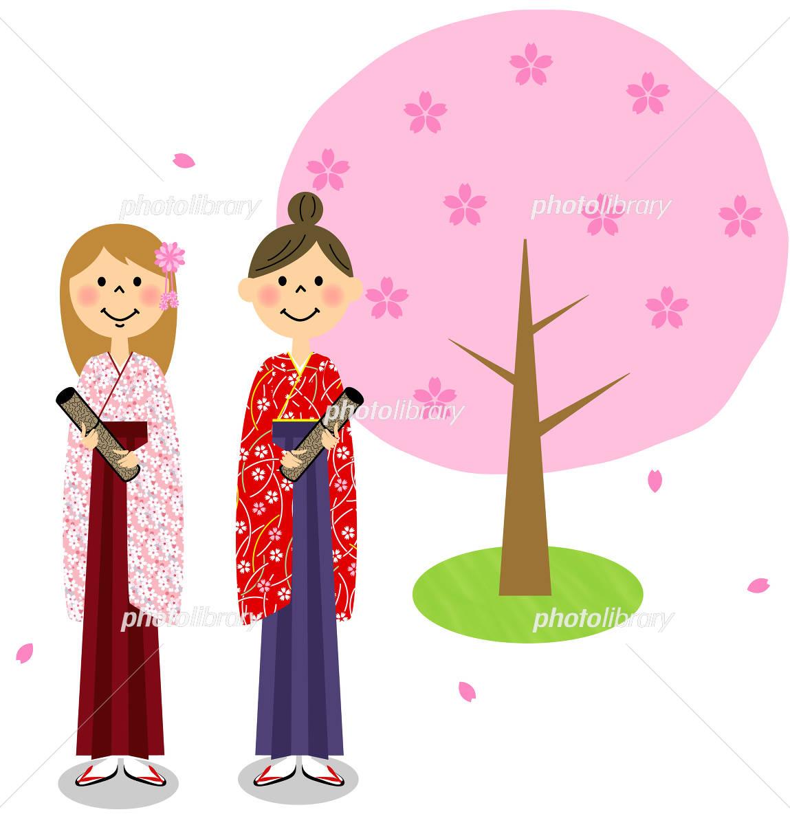 卒業式イメージ 桜の木(女子大生)