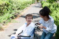 Women who care a wheelchair for the elderly Stock photo [4263574] wheelchair