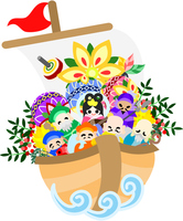 Illustration can be used in greeting cards Seven Lucky Gods and treasure ship [4265428] An