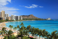 Oahu Waikiki Beach and Diamond Head Stock photo [4423979] America