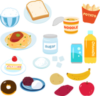 Illustration set of a lot of carbohydrate food [4503195] Carbohydrate