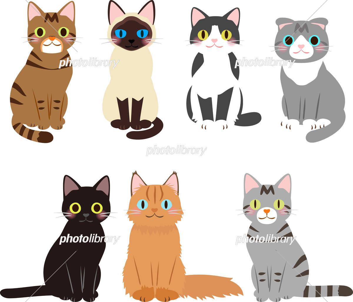 座る猫のイラストセット イラスト素材 4589385 フォトライブラリー