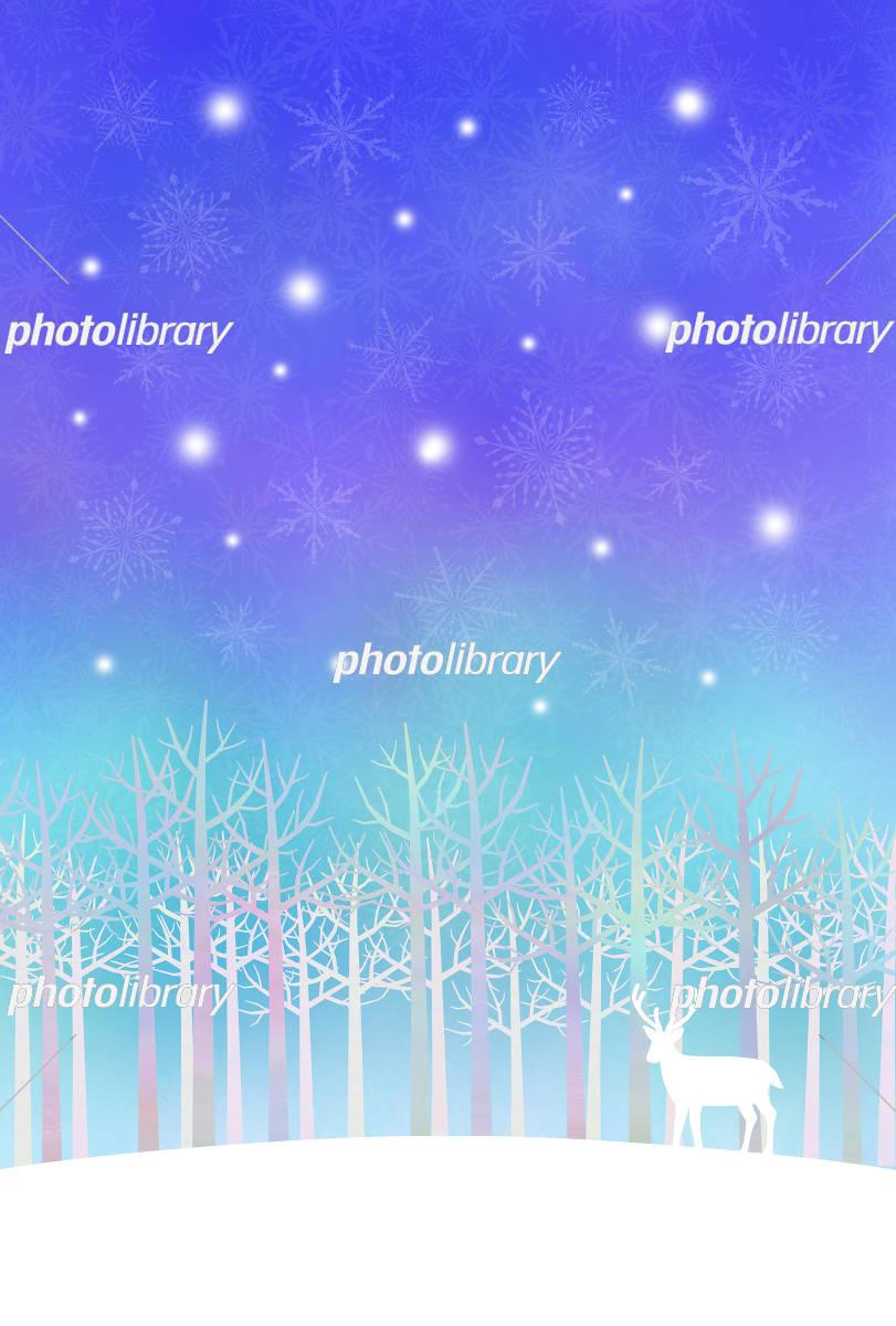 鹿と冬の森 イラスト素材 4647777 フォトライブラリー Photolibrary