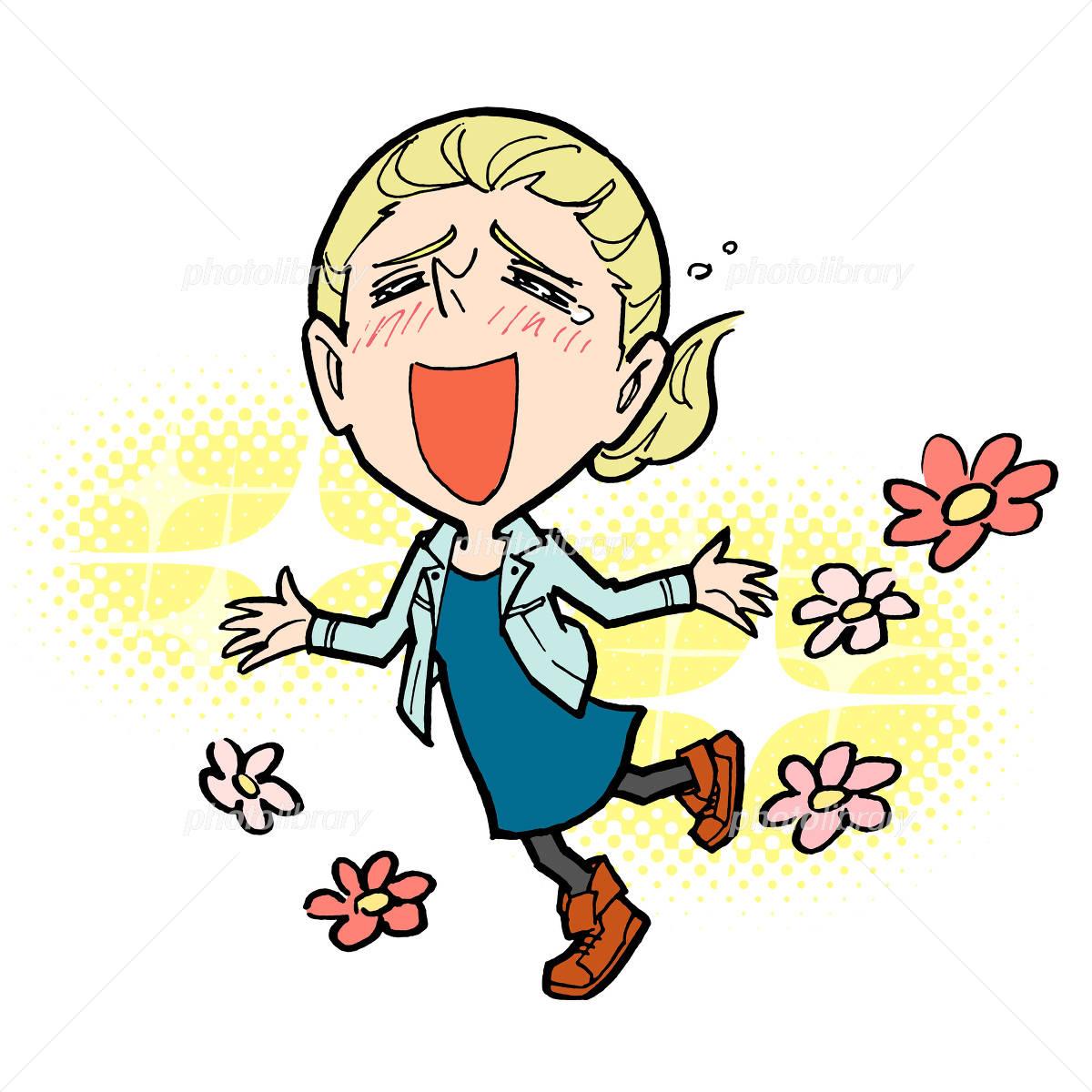 大喜びする外国人女性 イラスト素材 4899556 フォトライブ