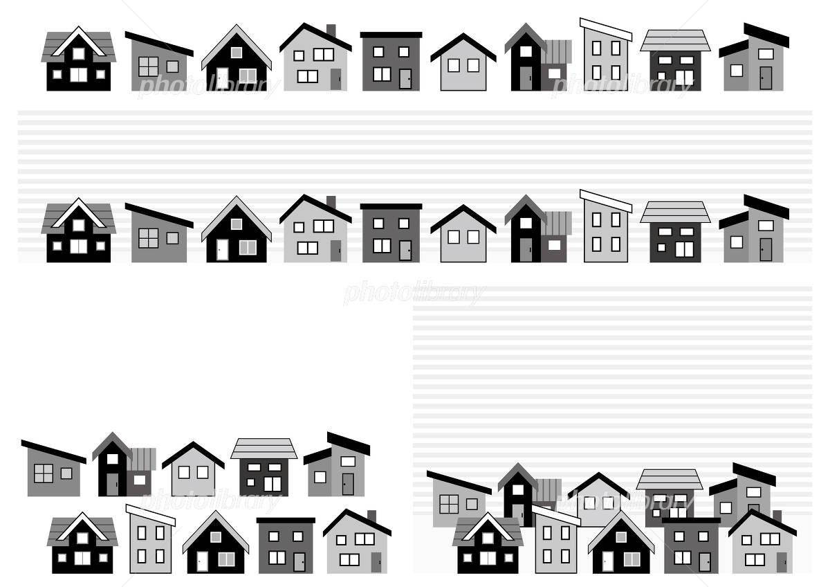 シンプルな家の並びモノクロ イラスト素材 4903626 フォトライブ