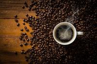 Hot coffee and coffee beans Stock photo [4897442] coffee