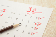 Education image - Three ten-point test of Stock photo [4899568] pencil