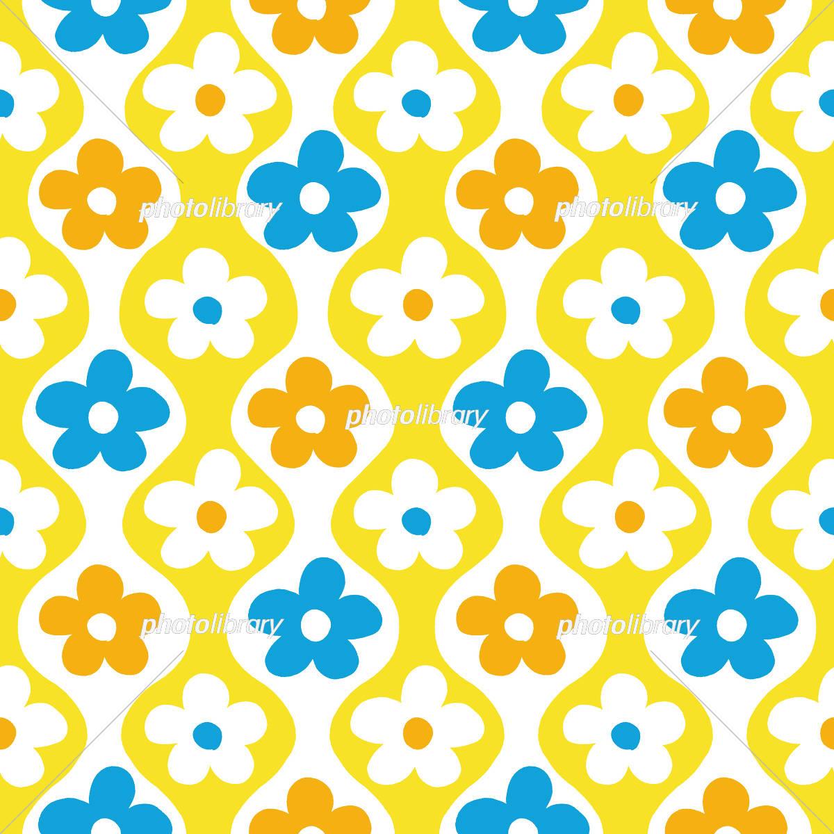 レトロポップな花柄 黄青 イラスト素材 5001016 フォトライブ