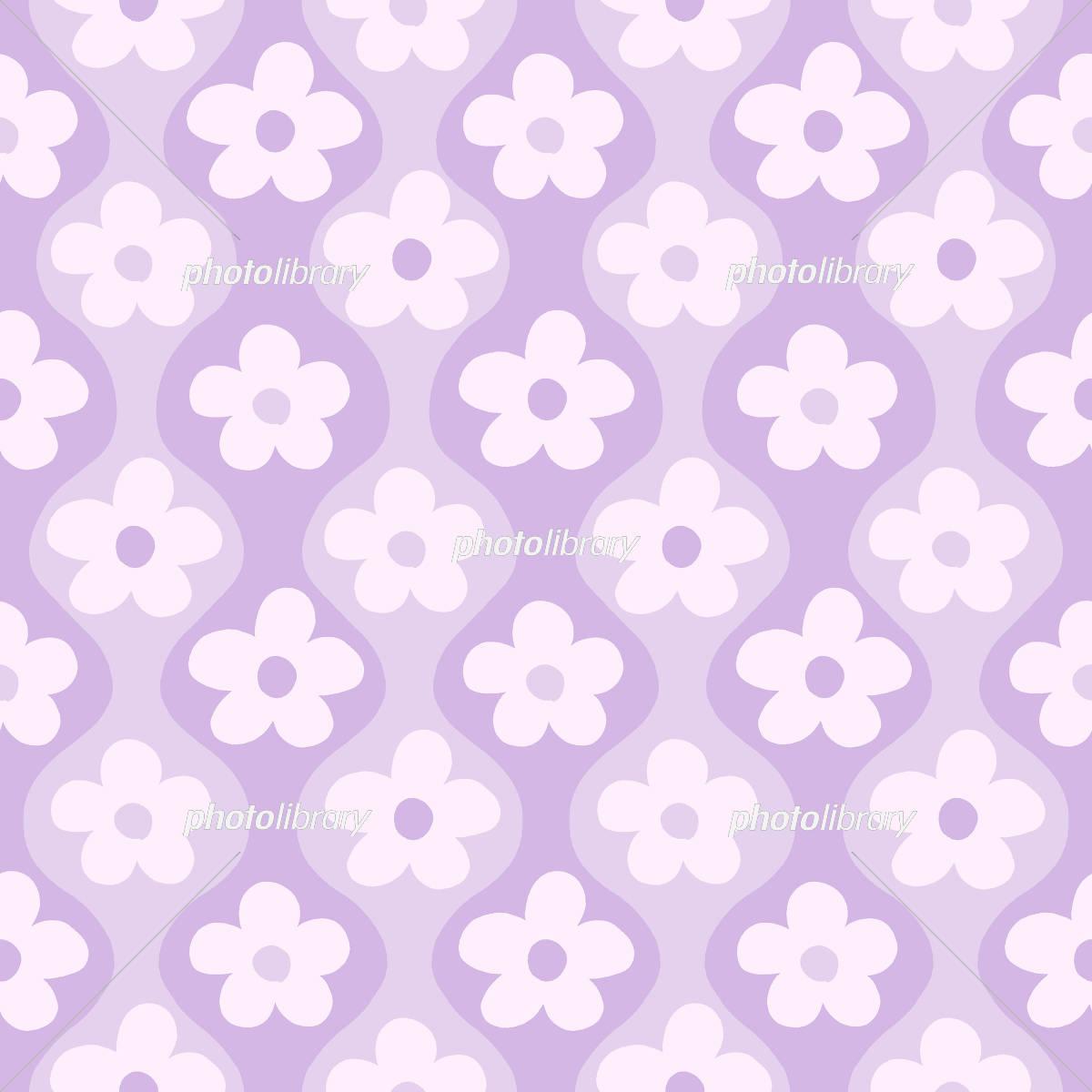 レトロポップな花柄 薄紫 イラスト素材 5001019 フォトライブ