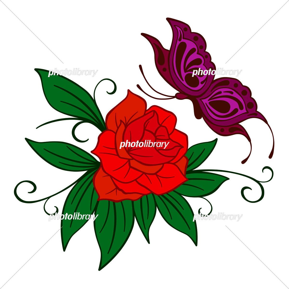 薔薇と蝶々のイラスト イラスト素材 5007999 フォトライブラリー