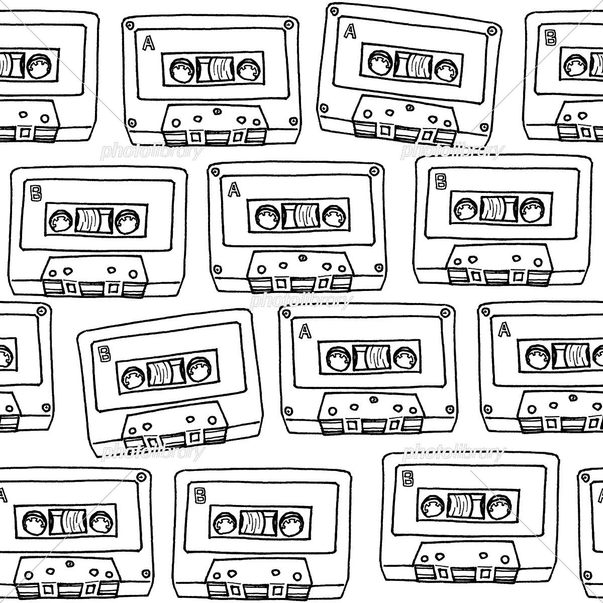 カセットテープのパターンモノクロ線画 イラスト素材 5009880
