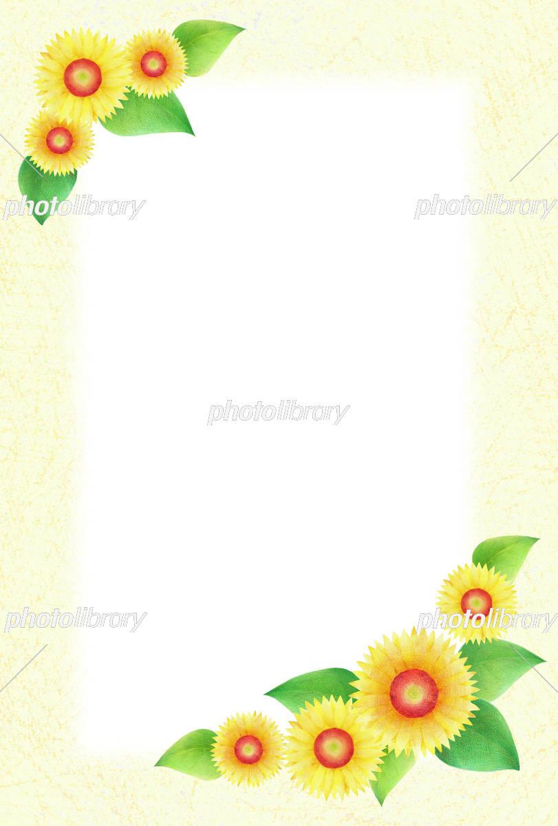 ひまわり フレーム 縦 イラスト素材 [ 5091586 ] - フォトライブラリー