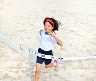 Running girls (gym clothes, goal tape) Stock photo [5094192] Elementary