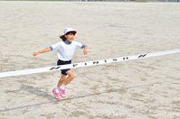 Running girls (gym clothes, goal tape) Stock photo [5094199] Elementary