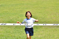Running girls (gym clothes, goal tape, lawn) Stock photo [5094206] girl