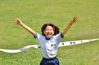 Running girls (gym clothes, goal tape, lawn) Stock photo [5094207] girl