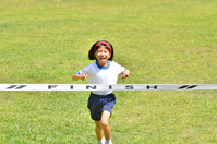 Running girls (gym clothes, goal tape, lawn) Stock photo [5094213] girl