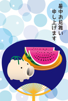 The hot summer greeting of a fan of pig and watermelon [5096146] Comfortable