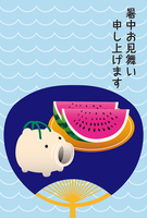 The hot summer greeting of a fan of pig and watermelon [5096151] Comfortable