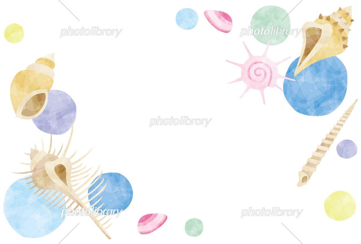 夏のイメージ 貝殻のフレーム イラスト素材 5186341 無料 フォト