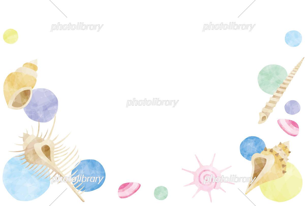 夏のイメージ 貝殻のフレーム イラスト素材 [ 5186341 ] 無料素材