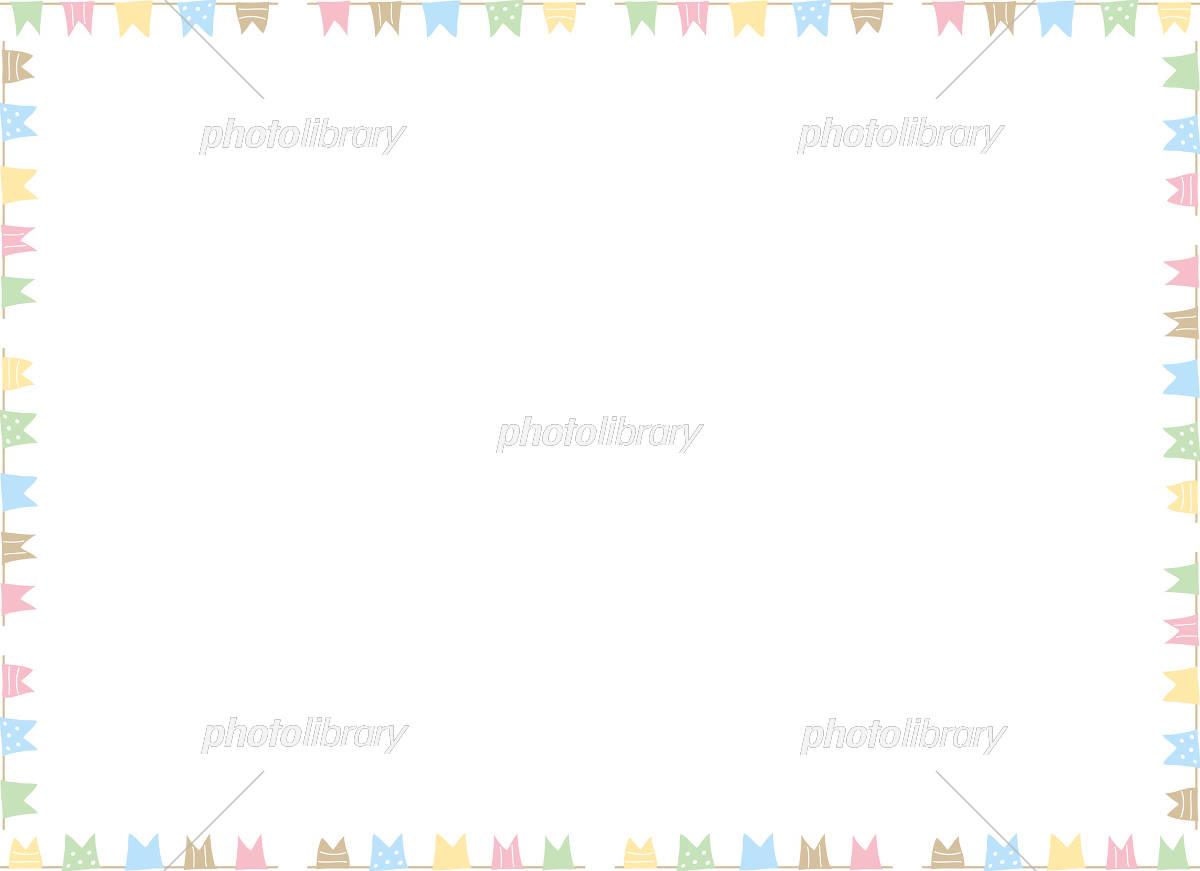 手書き フラッグ フレーム イラスト素材 [ 5189065 ] - フォトライブ