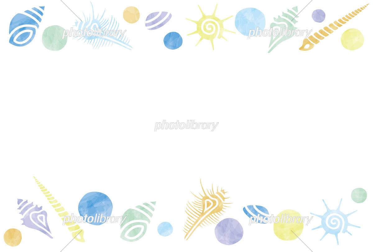 夏色 貝殻のフレーム イラスト素材 [ 5189973 ] 無料素材- フォトライブ