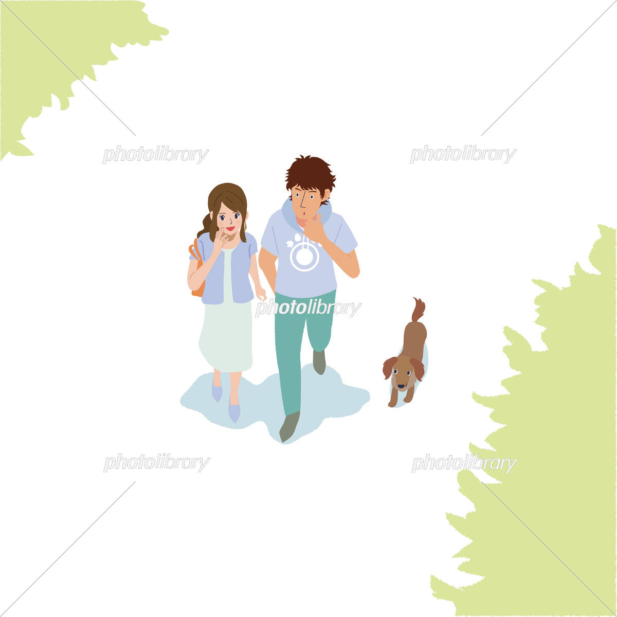 カップル 歩く イラスト イラスト素材 [ 5191085 ] - フォトライブラリー