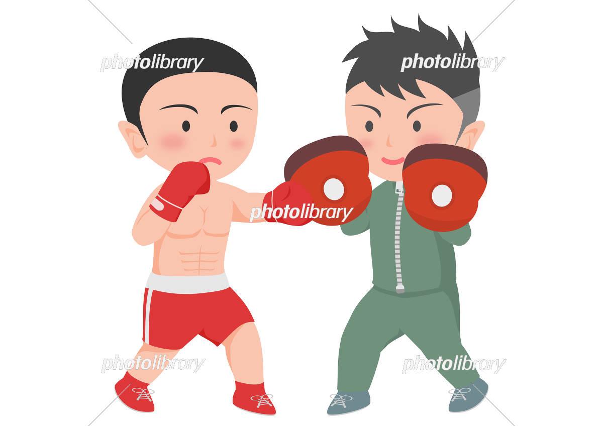 ボクシング トレーニング ミット打ち イラスト素材 5281528