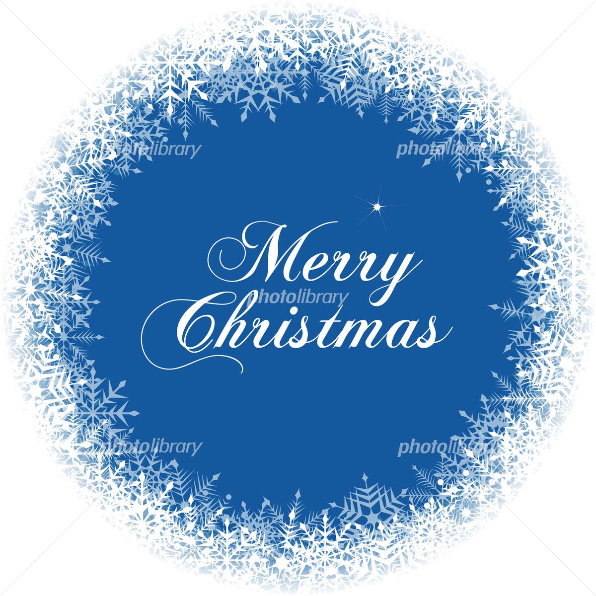 雪の結晶のおしゃれなクリスマスの丸いフレームデザインイラスト 写真