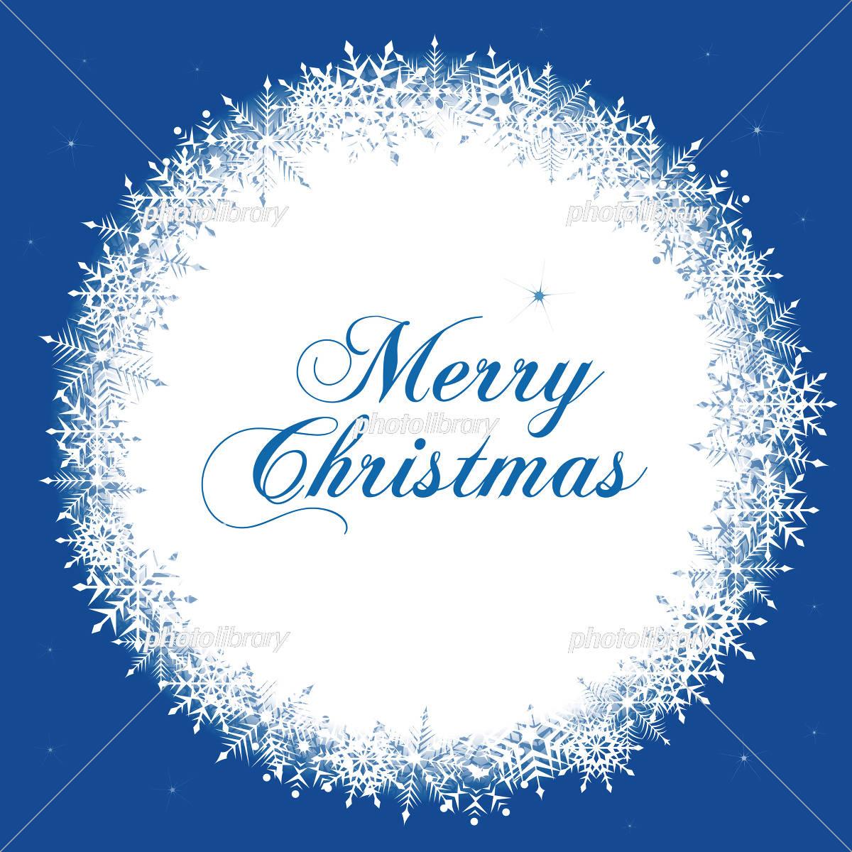 雪の結晶のおしゃれなクリスマスの丸いフレームデザインイラスト
