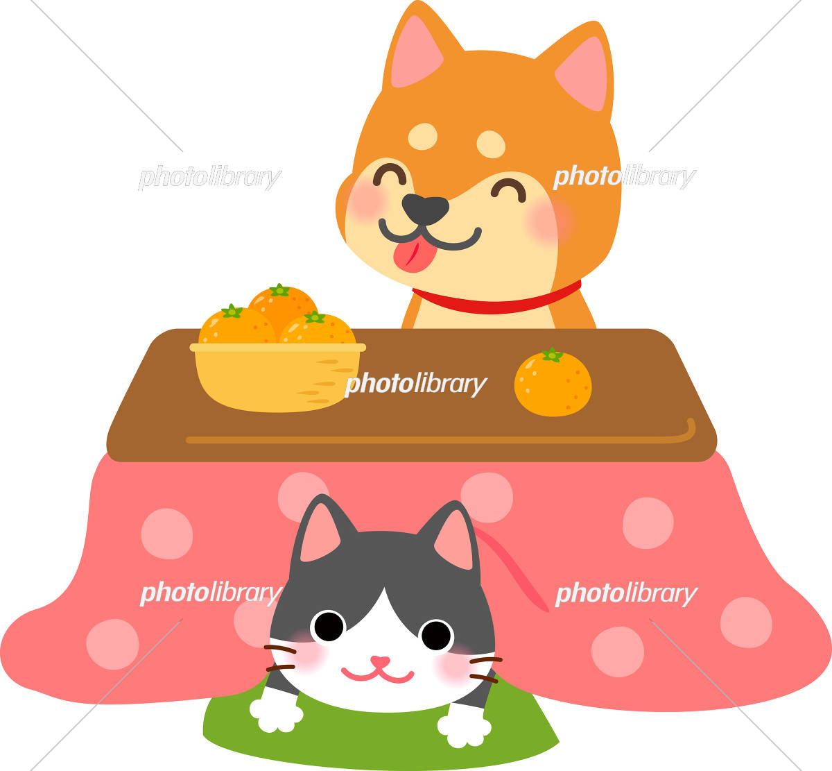 こたつに入る犬と猫 イラスト素材 5289370 フォトライブラリー