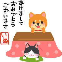 Shiba doll's New Year card illustration entering the kotatsu [5289372] New