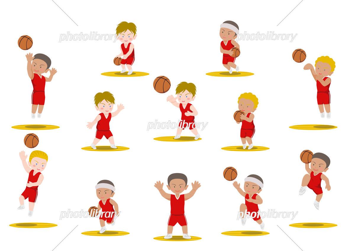 バスケットボール 様々な動作 外国人 イラスト素材 フォトライブラリー Photolibrary