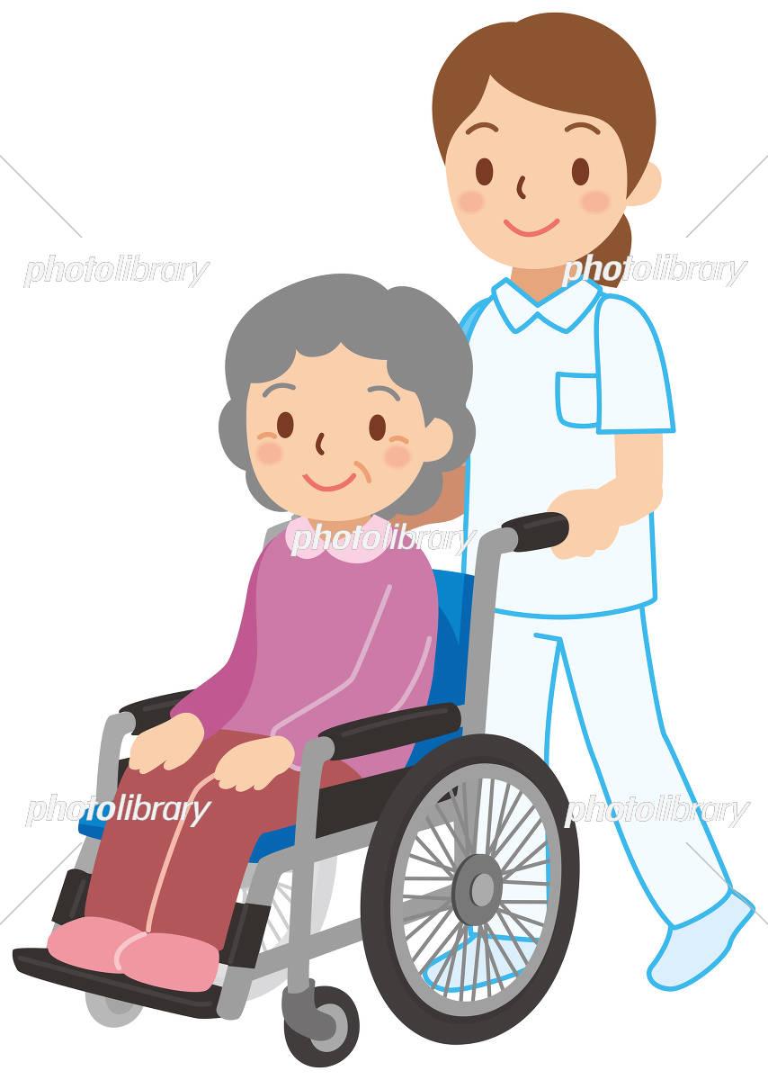 車椅子に乗ったおばあさん イラスト素材 [ 5369990 ] - フォトライブ