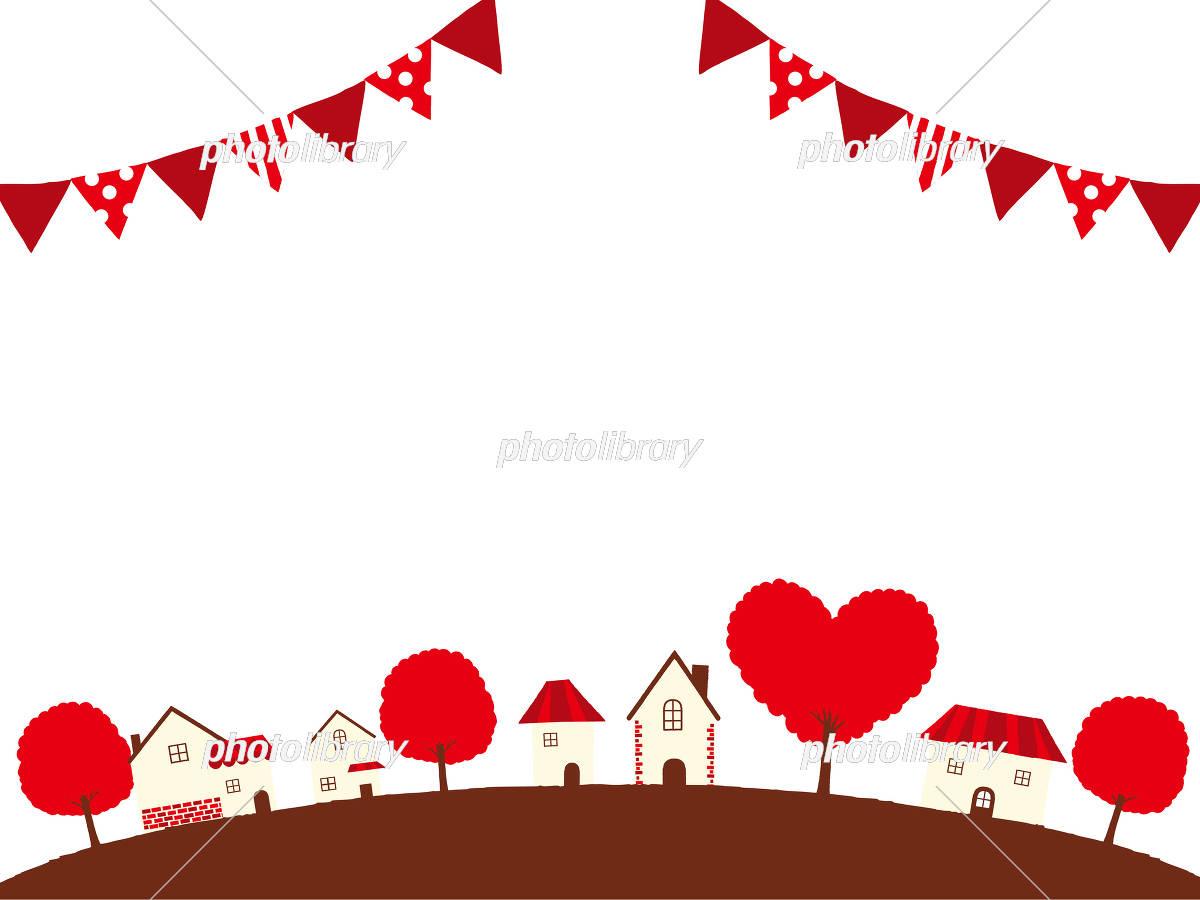 バレンタインデー 町並みイラストのイラスト