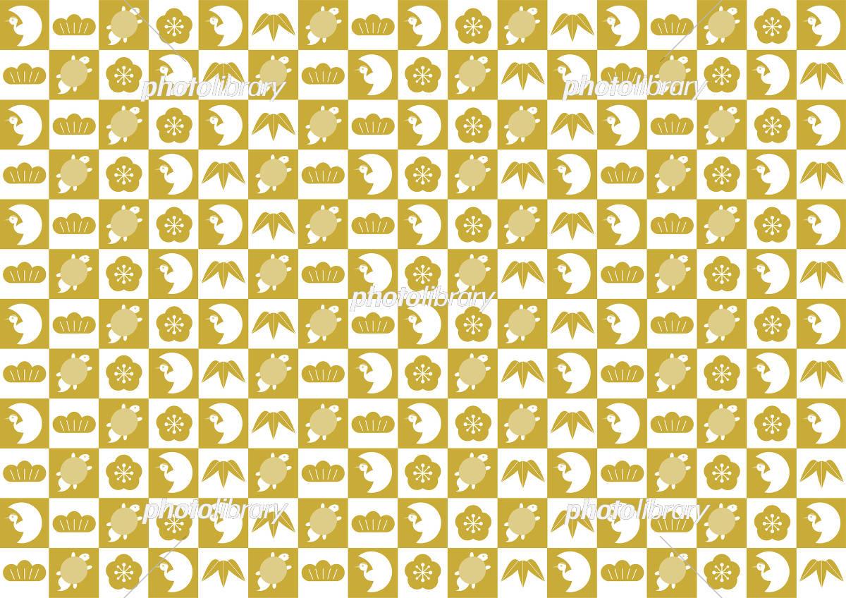鶴と亀 松竹梅 背景イラスト 市松模様 金色 イラスト素材 [ 5373594