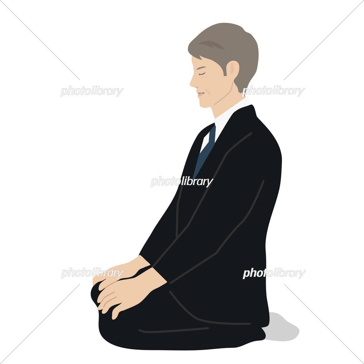 ブラックスーツ 男性 正座 イラスト イラスト素材 5373781 フォト