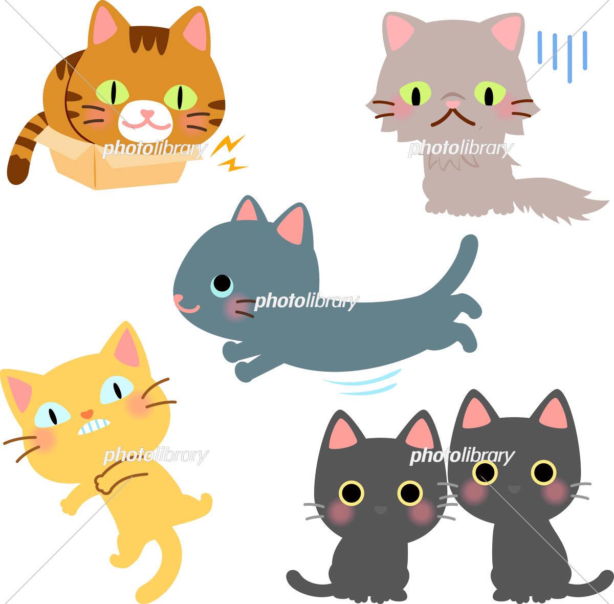 おもしろい猫のイラストセット イラスト素材 [ 5375639 ] - フォト